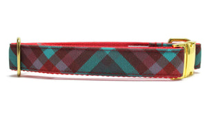 Teal and Burgundy Plaid Canvas Dog Collar