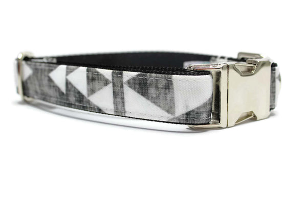 Black and White Geometric Canvas Dog Collar
