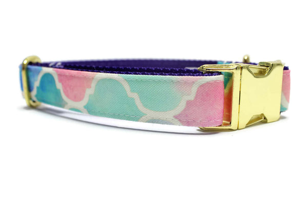 Pastel Watercolor Mermaid Canvas Dog Collar