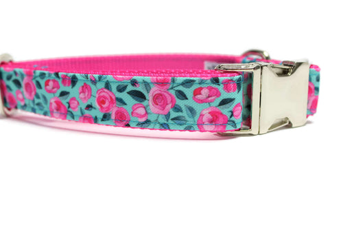 Light Blue Floral Canvas Dog Collar