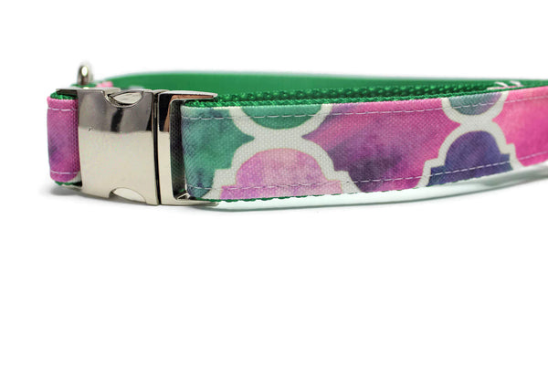 Pink and Green Mermaid Scales Canvas Dog Collar