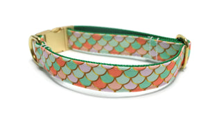 Pastel Fish Scales Canvas Dog Collar