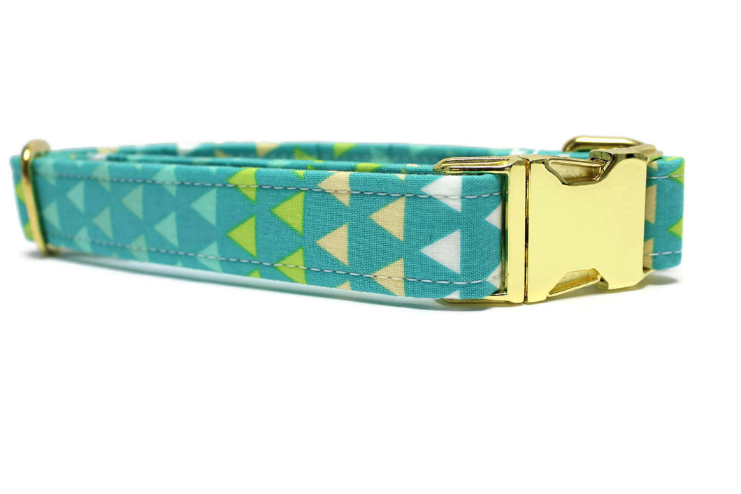 Teal Triangles Dog Collar