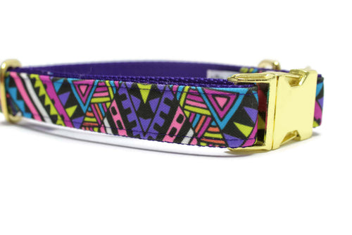 Purple Aztec Canvas Dog Collar
