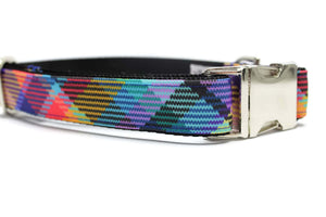 Colorful Plaid Canvas Strong Dog Collar