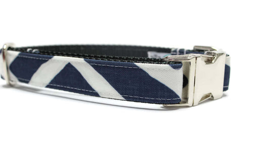 Navy Geometric Canvas Dog Collar