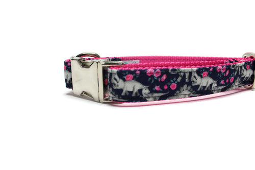 Navy Floral Dinosaurs Canvas Dog Collar