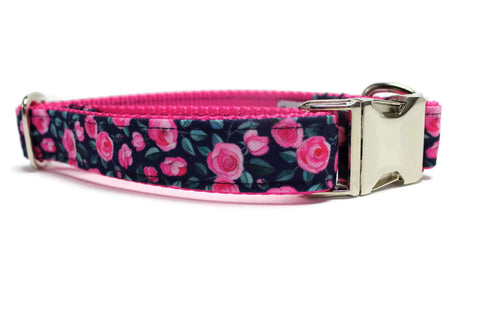 Navy and Pink Floral Canvas Dog Collar