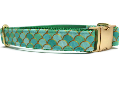 Green Fish Scales Canvas Dog Collar