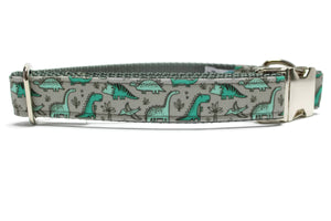Green Dinosaur Canvas Dog Collar