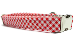Red and White Gingham Dog Collar