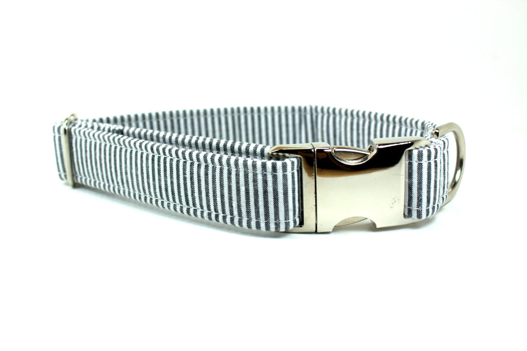 Gray and White Seersucker Dog Collar with Metal Side Release Buckle