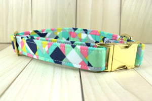 Mint Geometric Dog Collar with Gold Colored Metal Side Release Buckle