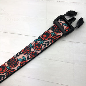 Vintage Roses Canvas Dog Collar