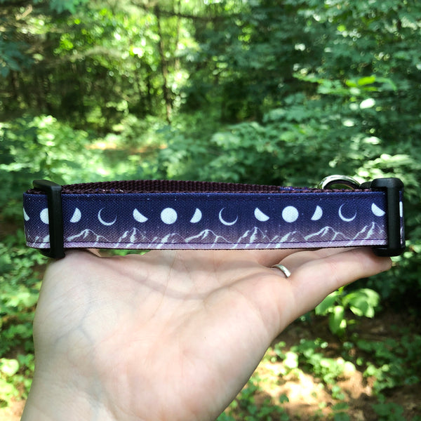 "Purple Mountains and Moons Canvas Dog Collar (1"" and 1.5"" width only)"