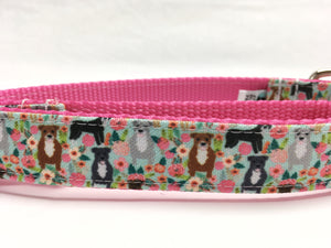Pitties and Flowers Canvas Dog Collar