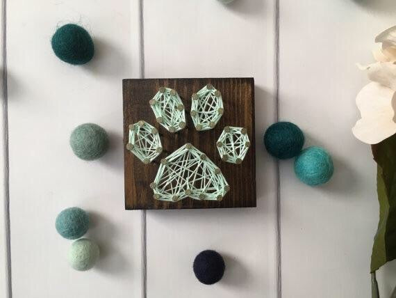 Paw Print String Art in Mint