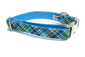 Blue and Green Plaid Canvas Dog Collar