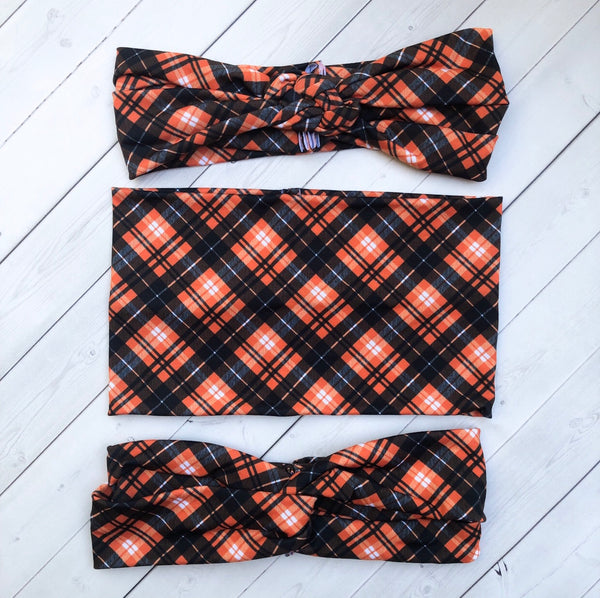 Pumpkin Spice Plaid Headband, Scrunchie or Hair Bow
