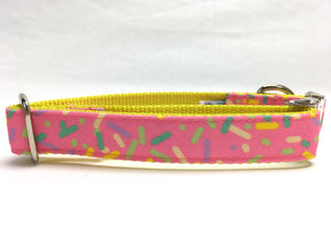 Pink Sprinkles Canvas Dog Collar