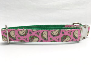 Pink Taco Canvas Dog Collar