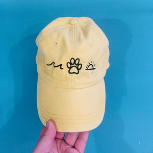 Yellow Summer Vibes Embroidered Hat (black logo)