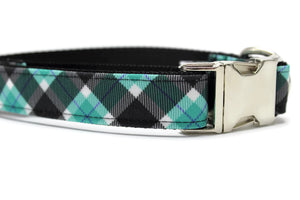 Black and Blue Plaid Canvas Dog Collar