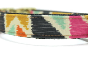 Ikat Geometric Canvas Dog Collar