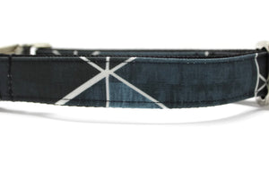 Black Geometric Canvas Dog Collar