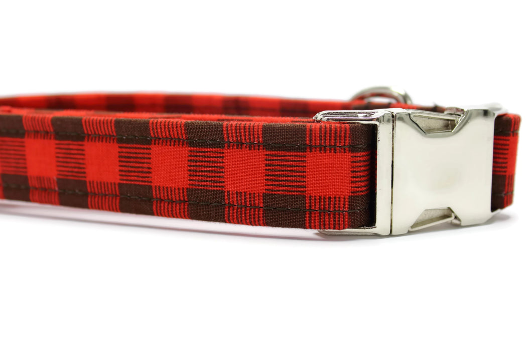 Red and Brown Plaid Dog Collar