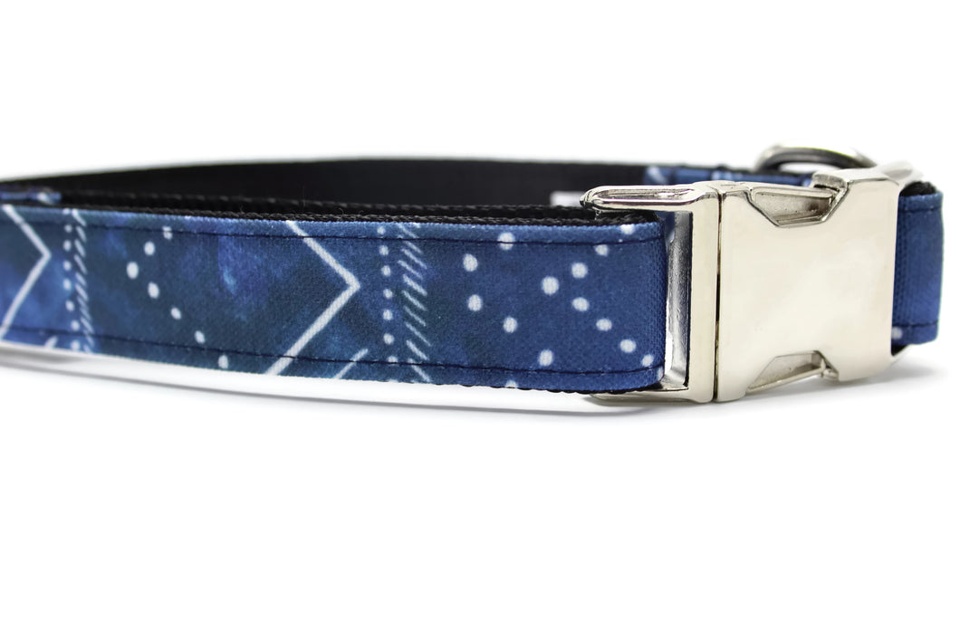 Blue Celestial Canvas Dog Collar