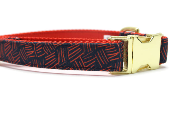 Red Scratch Plaid Eco Canvas Dog Collar