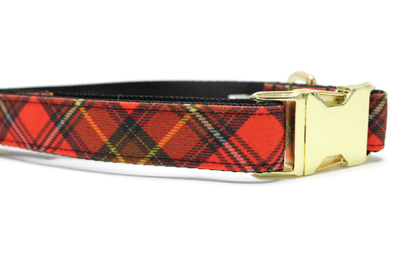 Red Scottie Plaid Canvas Dog Collar