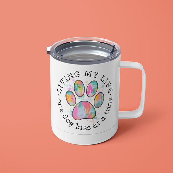 Living My Life One Dog Kiss At A Time Tumbler Mug with Lid
