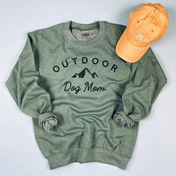 Outdoor Dog Mom Sweatshirt (Vintage Forest Green) - ready to ship