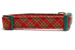 Red Holiday Plaid Cotton Fabric Dog Collar