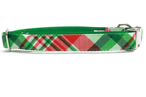 Christmas Plaid Canvas Dog Collar