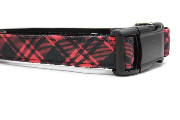 Red and Black Buffalo Plaid Canvas Dog Collar