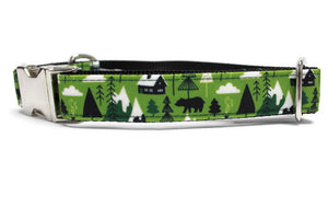 Alpine Cabin Canvas Dog Collar