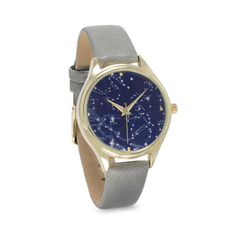 Starry Constellation Fashion Watch. This watch has a gray band with a constellation face