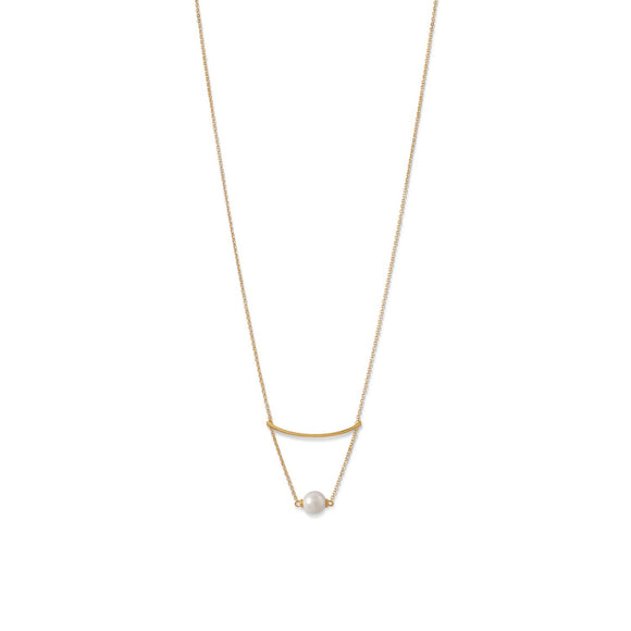 18 Karat Gold Plated Imitation Pearl Swing Necklace