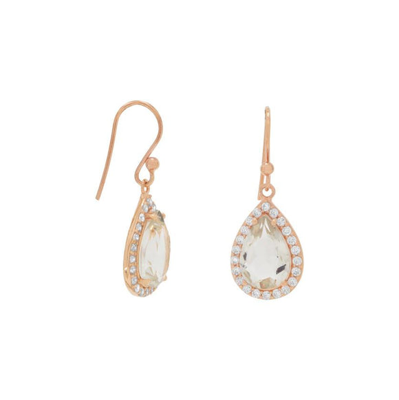 14K Rose Gold Plated Prasiolite Earrings