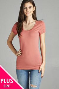 Ladies Plus Size Basic Short Sleeve Scoop Neck Tee
