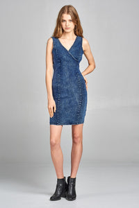 Ladies Double V-neck Front Wrap Bodycon Denim Mini Dress