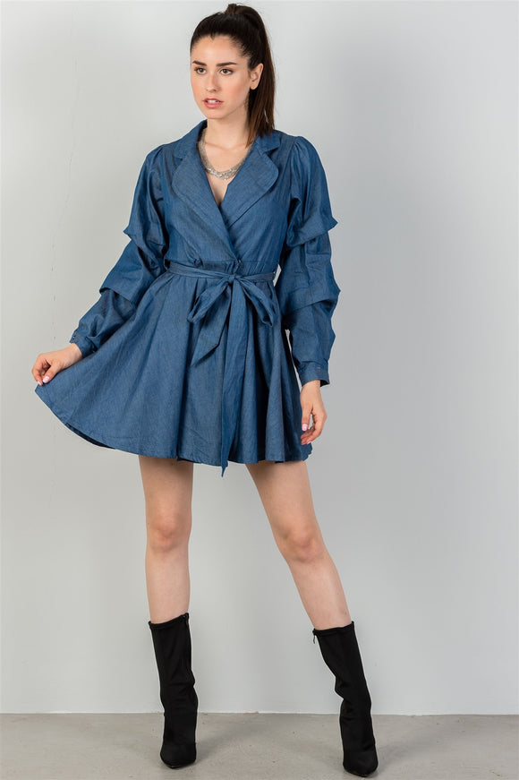 Ladies Denim Tiered Sleeve Self Tie Waist Dress