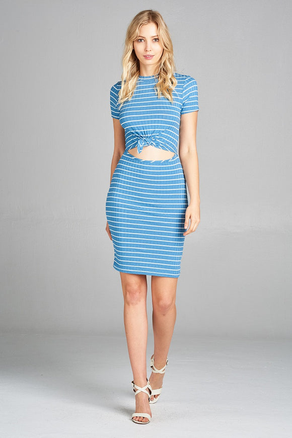Ladies Short Sleeve w/Self Tie Stripe Ribbed Midi Dress