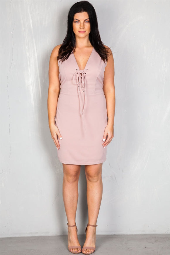 Ladies Plus Size V Neckline Front Lace Up Mini Dress