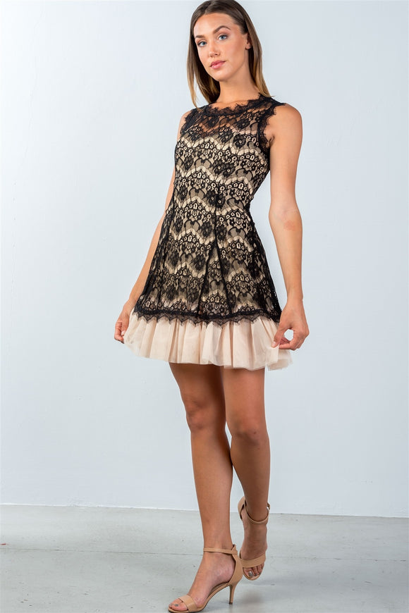 Ladies Sleeveless Lace Contrast Tulle Hem Mini Dress