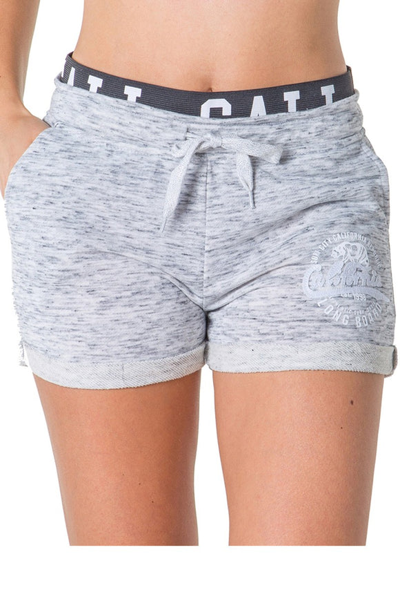 Ladies Fashion ffench Terry Drawstring Cuffed Shorts With Applique