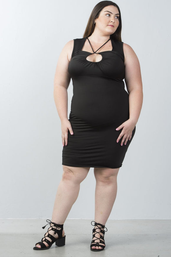 Ladies Plus Size Strappy Plunge Dress